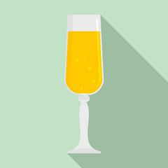 Bubble champagne glass icon. Flat illustration of bubble champagne glass vector icon for web design