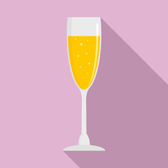Full champagne glass icon. Flat illustration of full champagne glass vector icon for web design