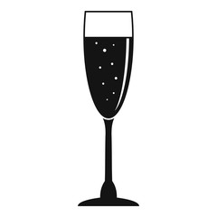 Full champagne glass icon. Simple illustration of full champagne glass vector icon for web design isolated on white background