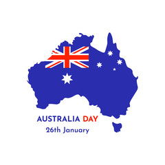 Vector illustration card with map and silhouette if Australia. Template for Australia Day. 26th January