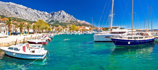 Idyllic waterfront of Baska Voda panoramic view