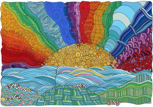 Fantasy color picture with sun and sea shore. Beach landscape. Sunlight. Eco theme. Hand-drawn, ethnic, doodle, vector, zentangle.