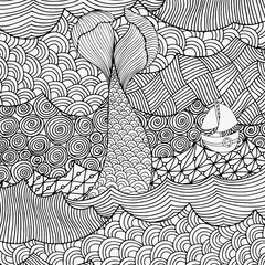 Mermaid tail on the waves. Seaside, sun, sea, art background. Hand-drawn doodle vector. Zentangle style. Black and white vector illustration.