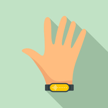 Nfc wrist band icon. Flat illustration of nfc wrist band vector icon for web design