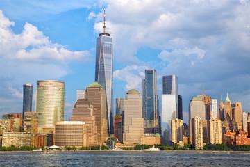 Lower Manhattan skyline over Hudson River, New York