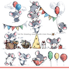 cartoon mice. Cute mouse illustration set