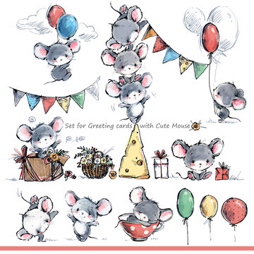 cartoon mice. Cute mouse illustration set