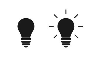 Set of black isolated icons of light bulb on white background. Silhouette of illuminated lamp. Symbol of idea, creative.