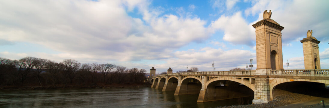Panorama Market Street Bridge Wilkes-Barre, Luzerne County With Historic Eagles Perched Over City
