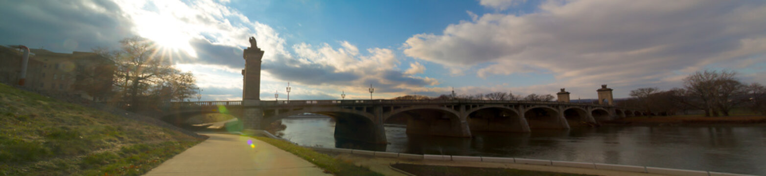 Sun Rays Over Market Street Bridge In River Commons Wilkes-Barre