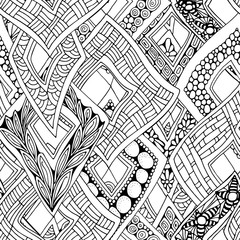 Seamless abstract doodle background in vector with rhombuses. Black and white Coloring book. Hand drawn rhomb. Monochrome.