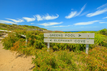 Poster de jardin Océanie Elephant Cove and Greens Pool Sign along Elephant Rocks Walk in William Bay National Park, Western Australia. Denmark Region near Albany. Popular summer travel destination in Australia.