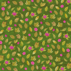 Pattern of beautiful watercolor flowers and leaves on a green texture