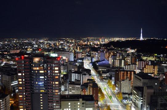 Night view of Sendai cityscape, Japan