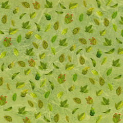 Green pattern of beautiful watercolor flowers and leaves on a white background