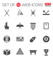 Billiards. Set of 16 high quality web icons