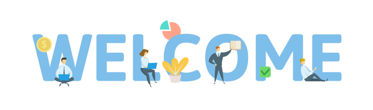 WELCOME. Concept with keywords, letters, and icons. Colored flat vector illustration. Isolated on white background.