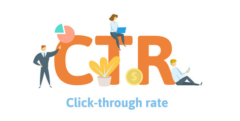CTR, click trough rate. Concept with keywords, letters, and icons. Colored flat vector illustration. Isolated on white background.