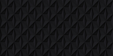 Volume realistic vector black texture, geometric seamless tiles pattern, design dark background for you projects