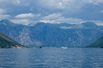 cruise ship on a background of mountains in Montenegro