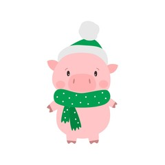 Cute pig in santa hat. Symbol of Chinese New Year 2019. Vector illustration.