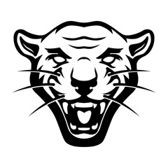 Illustration of pantera head on white background. Design element for logo, label, emblem, sign, poster, t shirt.