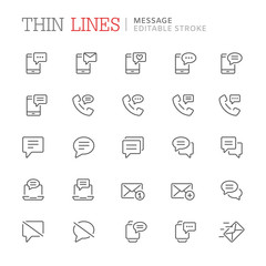 Collection of message related line icons. Editable stroke