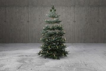 Weihnachtsbaum mit Kerzenlichter geschmückt auf Beton. 3D Rendering