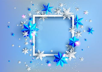 Fotomurales - Realistic shine Banner with place for text template. Shine winter decoration on light blue background with snowflakes and stars