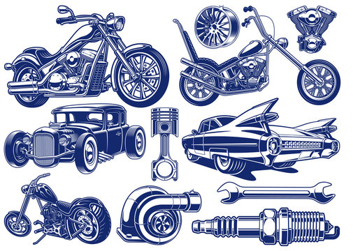 Black and white illustrations of transportation theme