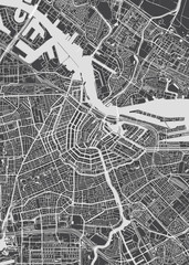 City map Amsterdam, monochrome detailed plan, vector illustration