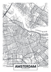 City map Amsterdam, travel vector poster design