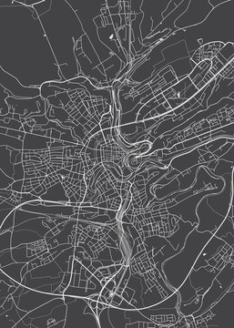 City map Luxembourg, monochrome detailed plan, vector illustration
