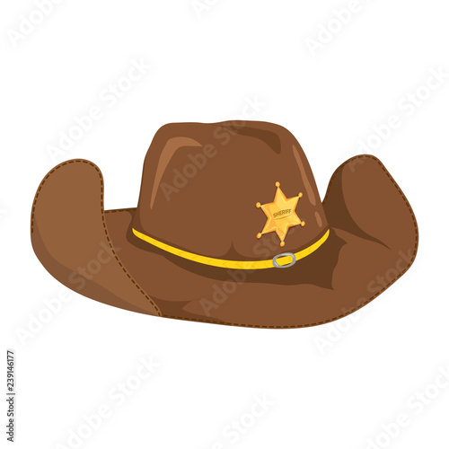 e2d6a8ae Cowboy Hat with Sheriffs Star, Isolated on White Background. Vector  Illustration.
