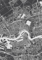 City map Rotterdam, monochrome detailed plan, vector illustration