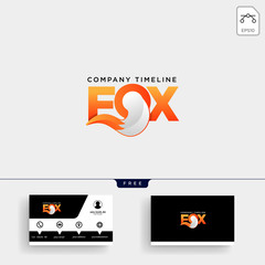Fox Tail logo template and business card