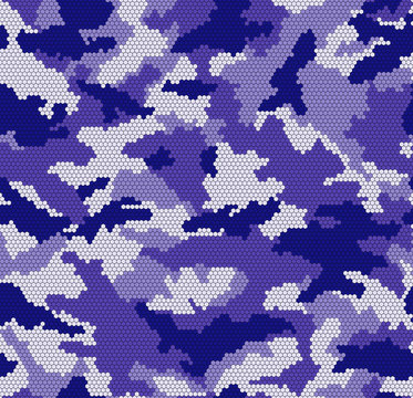 Camouflage Pattern Vector Hexagons Digital in Purple Colors Seamless Vector Illustration