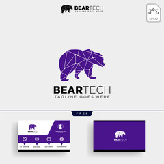 Bear Tech geometric logo template and business card