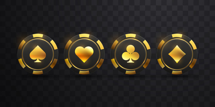 Gambling chip with golden spade sign