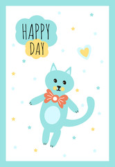 """Vector Illustration. Design template card for baby shower. Cute cat toy with heart rattle. Poster for the kid's birthday with text """"HAPPY DAY""""."""