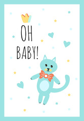 Vector Illustration. Design template card for baby shower. Cute cat toy with heart rattle. Poster for the kid's birthday with text.