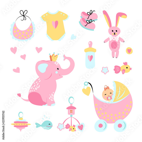 Vector illustration  Icons of cute elephant, bib, onesie