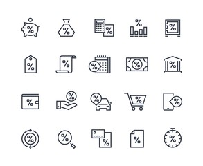 Loan line icons. Money rate payment discount, real estate car and purchases loan. Pay rate and money calculating vector pictograms