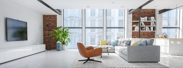 new modern city loft apartment. 3d rendering