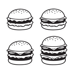 Hand drawn burger set