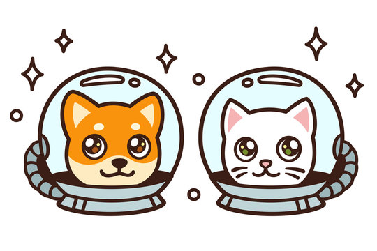 Cute cartoon space cat and dog