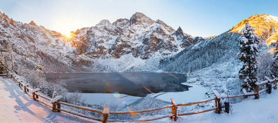 Winter landscape of Morskie oko in Tatra