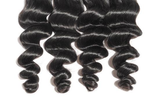loose wavy black human hair weaves extensions bundles