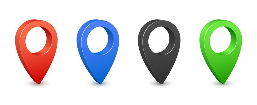 Pin map place location 3d icons. Color gps map pins. Place location and destination signs. Navigation pin pointers