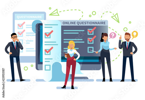 Online questionnaire  People fill out internet survey form